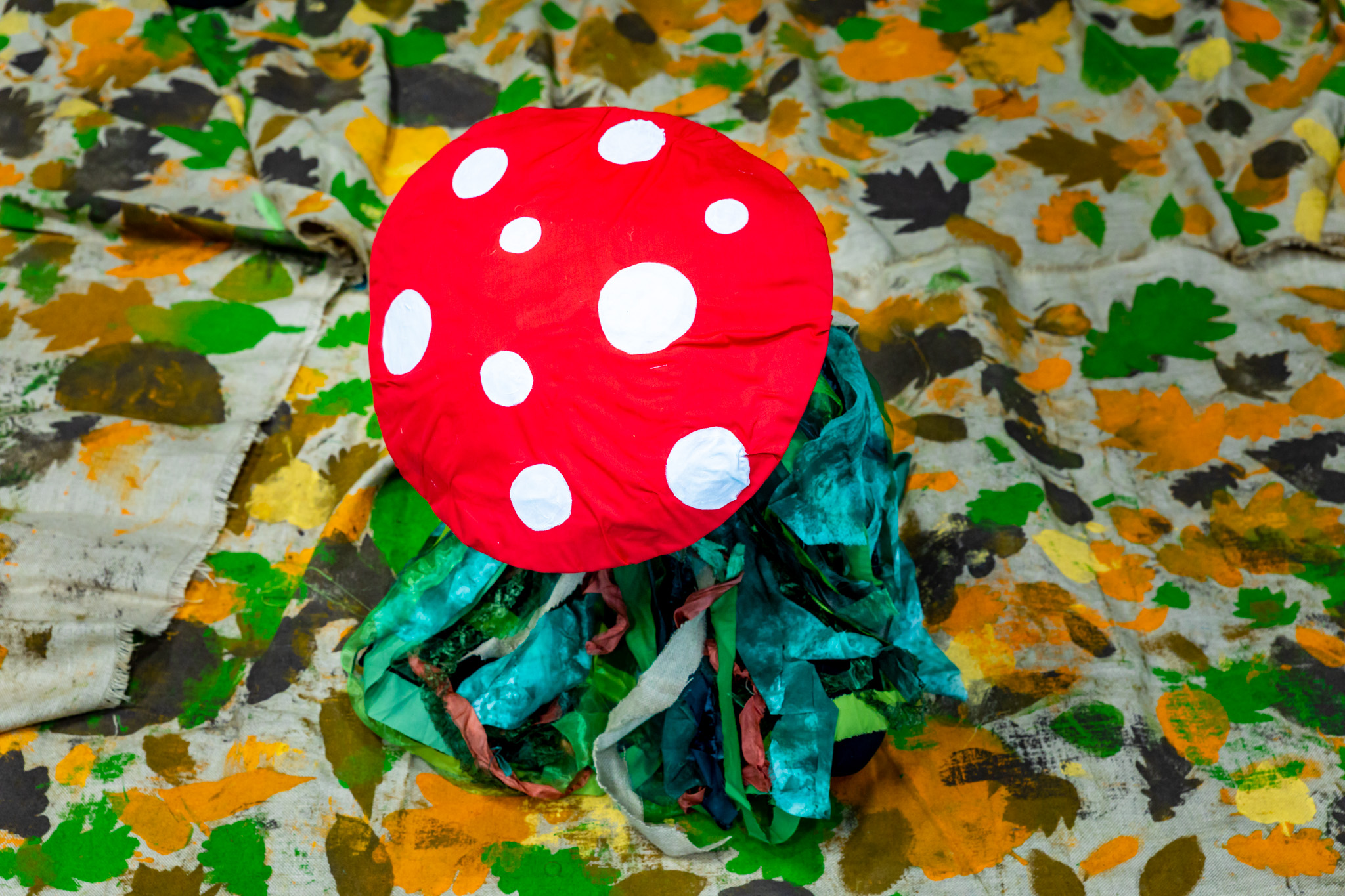 Singer in a toadstool costume